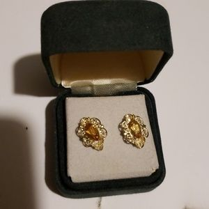 10k Gold w/Amber Colored Stones